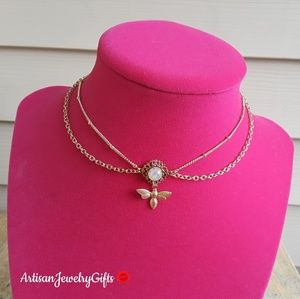 Gold Layered Antique Opal Bee Choker Necklace